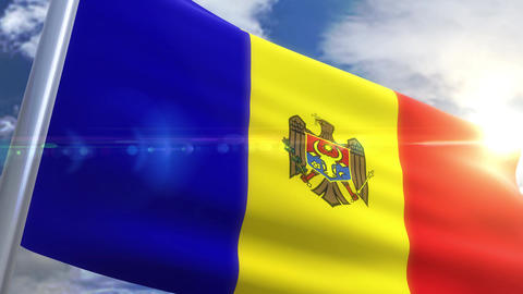 Waving flag of Moldova Animation Animation