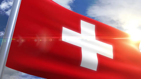 Waving flag of Switzerland Animation Animation