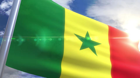 Waving flag of Senegal Animation Animation
