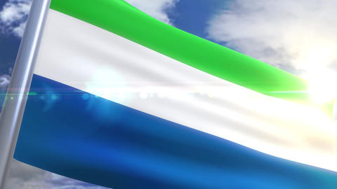 Waving flag of Sierra Leone Animation Animation