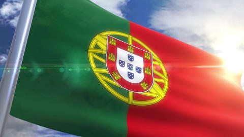 Waving flag of Portugal Animation Animation