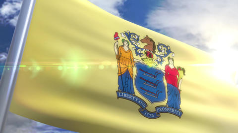Waving flag of the state of New Jersey USA Animation