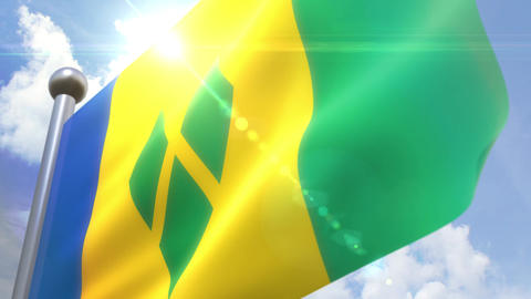 Waving flag of Saint Vincent and the Grenadines Animation 動画素材, ムービー映像素材