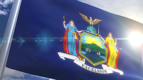 Waving flag of the state of New York USA Animation