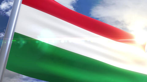 Waving flag of Hungary Animation Animation