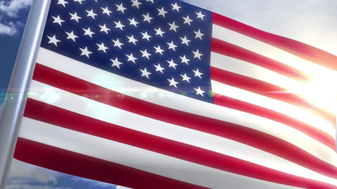 Waving flag of USA US Animation Animation