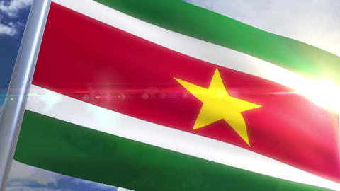 Waving flag of Suriname Animation Animation
