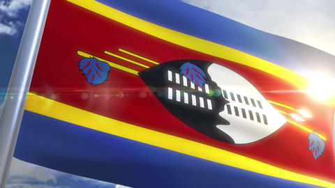 Waving flag of Swaziland Animation Animation