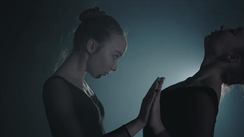 Close up portrait two graceful professional ballerinas dancing elements of Footage