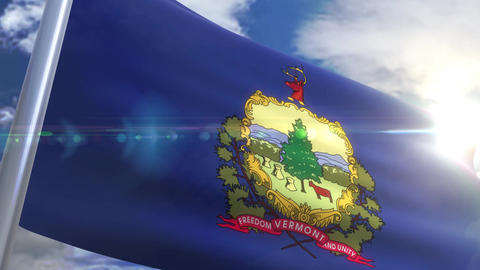 Waving flag of the state of Vermont USA Animation