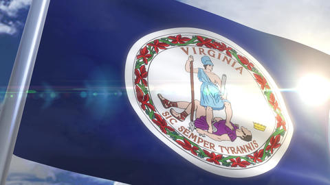 Waving flag of the state of Virginia USA Animation