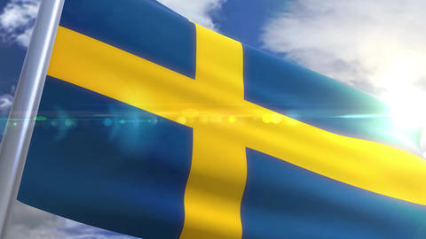 Waving flag of Sweden Animation Animation