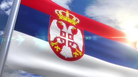 Waving flag of Serbia Animation Animation