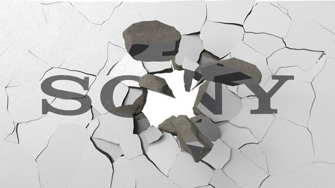 Crushing concrete wall with logo of Sony. Crisis conceptual editorial 3D Footage