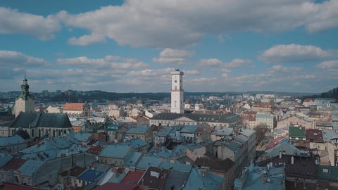 Aerial City Lviv, Ukraine. European City. Popular areas of the city. Rooftops Live Action