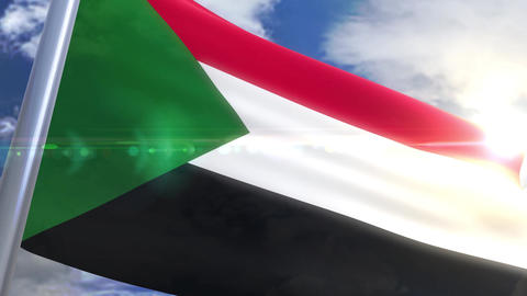Waving flag of Sudan Animation Animation