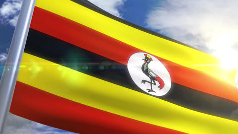 Waving flag of Uganda Animation Animation