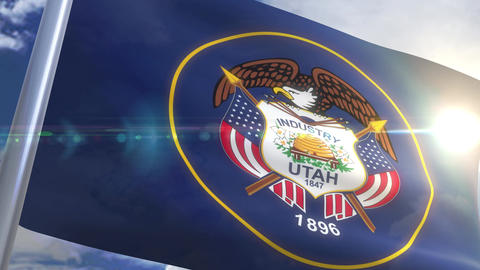 Waving flag of the state of Utah USA Animation