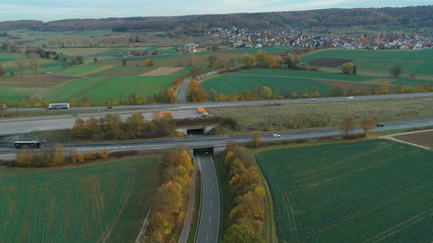 Aerial round view from Autobahn by Gartingen Footage
