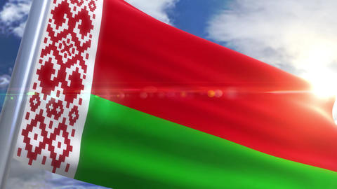 Waving flag of Belarus White Russia Animation Animation