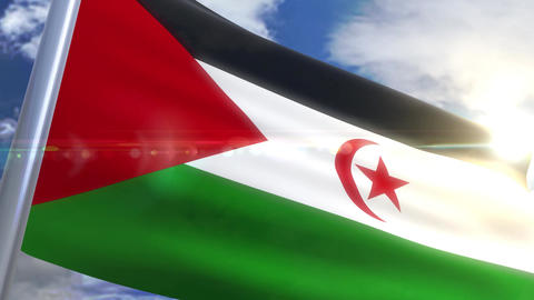 Waving flag of Western Sahara Animation Animation