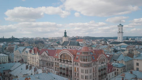 Aerial City Lviv, Ukraine. European City. Popular areas of the city. Rooftops Footage