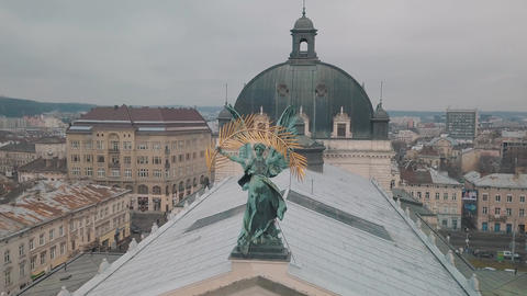 Aerial City Lviv, Ukraine. European City. Popular areas of the city. Lviv Opera Live Action