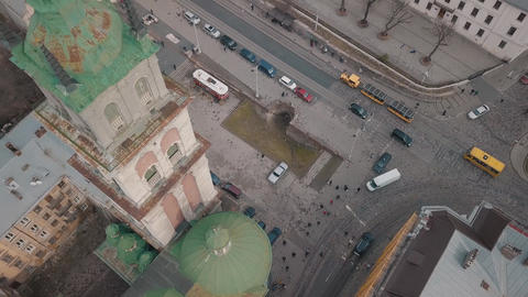Aerial City Lviv, Ukraine. European City. Tourist tram rides down city center Live Action