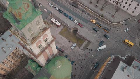 Aerial City Lviv, Ukraine. European City. Tourist tram rides down city center Footage