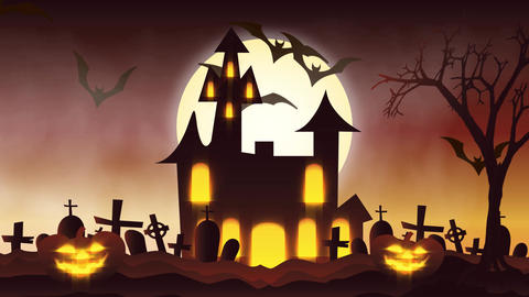 animation of a spooky haunted house with Jack-o-lantern Halloween pumpkins Animation