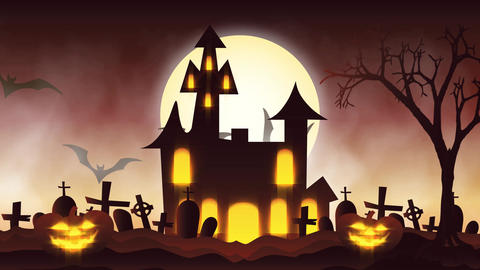 animation of a spooky haunted house with Jack-o-lantern... Stock Video Footage