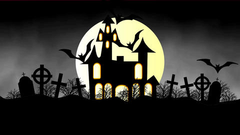 animation of a spooky haunted house with flying bats Halloween Animation