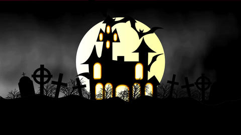 animation of a spooky haunted house with flying bats... Stock Video Footage