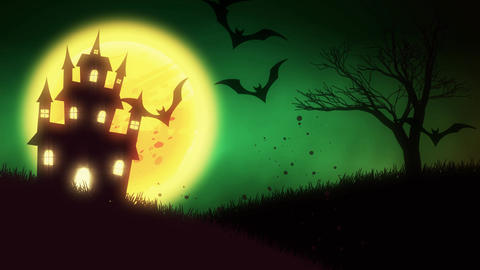 animation of a spooky haunted house with Jack-o-lantern Halloween pumpkins CG動画