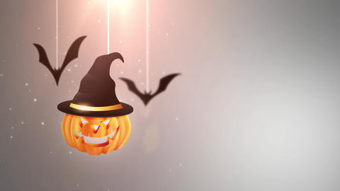 Halloween grey background animation with pumpkin and Bats falling down and Animation
