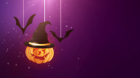 Halloween purple background animation with pumpkin and Bats falling down and Animation
