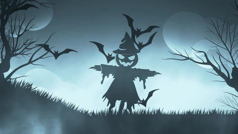 Halloween background animation with the concep of Spooky scarecrow and Bats blue Animation