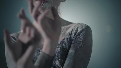 Close up portrait of professional graceful ballet dancer dancing in black dress Footage