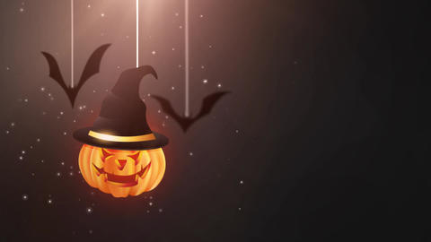 Halloween black background animation with pumpkin and Bats falling down and Animation
