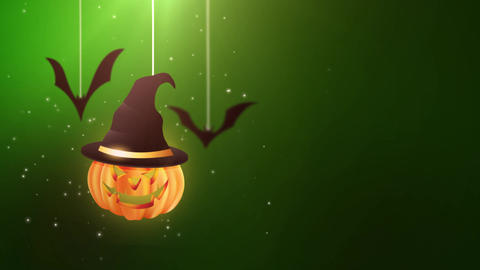 Halloween green background animation with pumpkin and Bats falling down and Animation