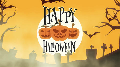 animated happy halloween greeting card with pumpkins, moon and bats Animation
