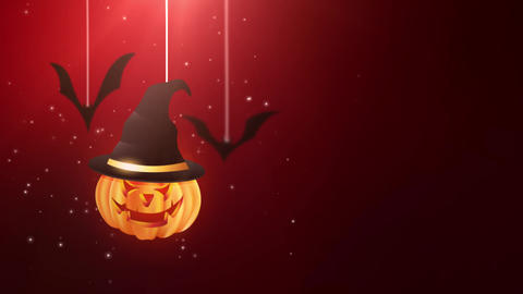 Halloween red background animation with pumpkin and Bats falling down and Animation