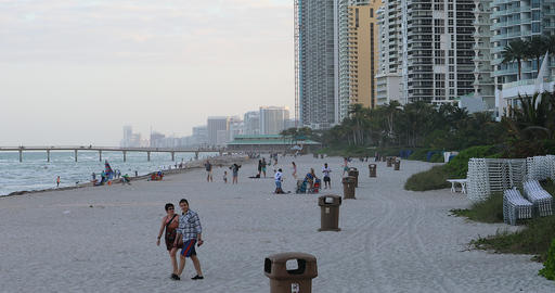 People On The Beach In Miami Footage