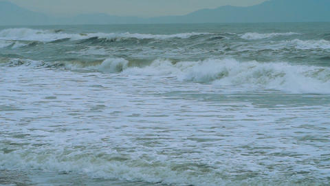 Stormy sea waves during bad weather Live Action