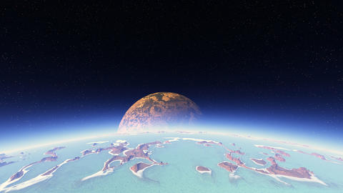 3D space animation of flight around planet with big moon GIF