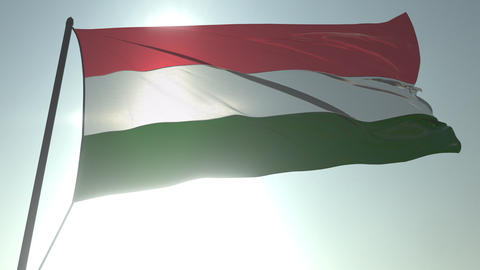 Waving flag of Hungary against shining sun and sky. Realistic loopable 3D Footage
