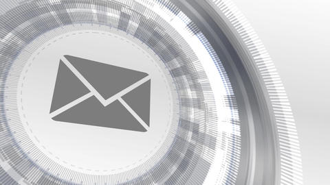 email address mail letter icon animation white digital elements technology Animation