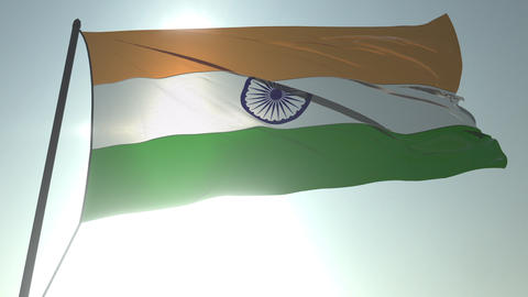 Waving flag of India against shining sun and sky. Realistic loopable 3D Footage