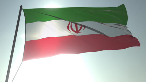 Waving flag of Iran against shining sun and sky. Realistic loopable 3D animation Footage