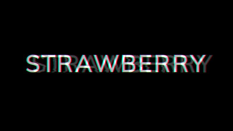 From the Glitch effect arises fruit STRAWBERRY. Then the TV turns off. Alpha channel Premultiplied - Animation